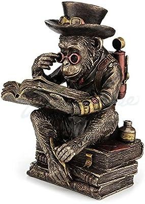 Amazon Com Veronese Design Steampunk Chimpanzee Scholar Cold Cast Metal Bronze Finish Statue Home Kitchen