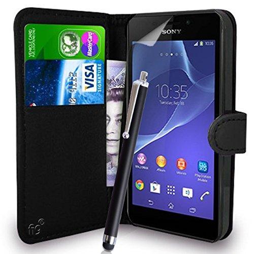 Fi9 SONY XPERIA E4 (E2104, E2105, E2114, E2124) funda de piel sintética con tapa + PROTECTOR de pantalla + lápiz capacitivo