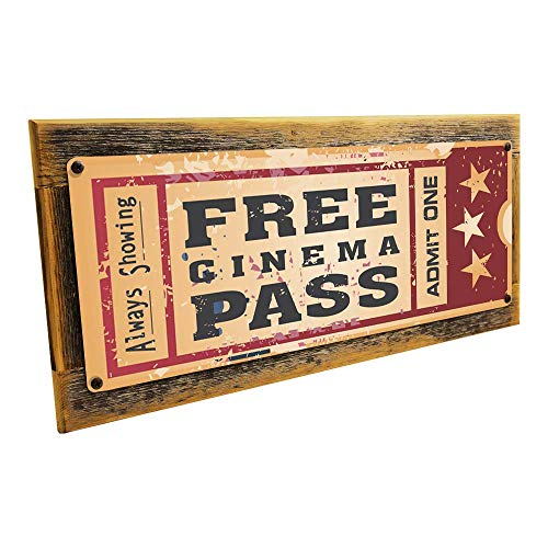 Framed Home Cinema Metal Sign Mounted on Rustic, Weathered Wood
