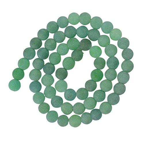Generic Perlas de piedras preciosas verdes de 6 mm, espaciador redondo natural para collar de joyas de 15 pulgadas