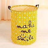 Cesta de picnic QAP para la colada, cesta de almacenamiento de juguetes, bolsa de algodón, organizador de ropa sucia, Amarillo, 40x50cm