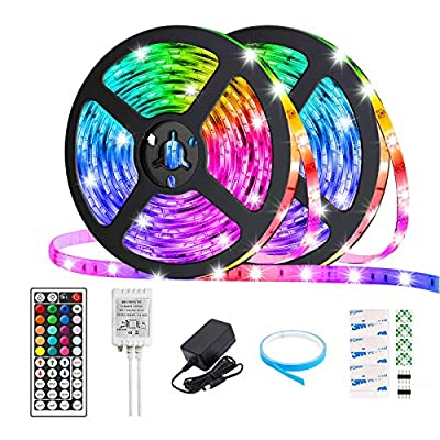 Arzerlize Led Lights for Bedroom 32.8Ft 300 LEDs Led Strip Lights with Remote Rope Lights Room Kitchen Livingroom Tv Decorations Cool Color Changing Non Waterproof