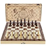 Amerous Chess Set, 12'x12' Folding Wooden Standard Travel International Chess Board Game Set with Magnetic Crafted Pieces