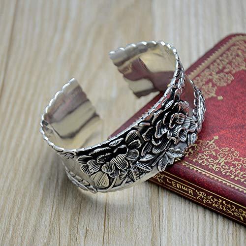 THTHT S 925 vintage dames zilveren armband brede opening reliëf 3D pioenroos creatief carving temperament persoonlijkheid cadeau Chinese klassieker