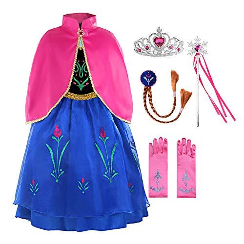 ReliBeauty KataraMädchen Prinzessin Anna Zweischichtig Kostüm Kleid mit Umhang,110,mit Zubehören