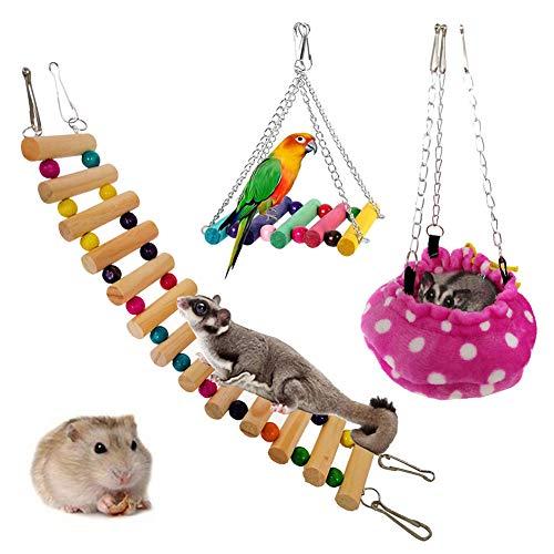 Garretlin Juego de 3 piezas de juguete Totoro ardilla loro, casa de mascotas, hamaca de escaleras, hamster, bolsa de miel volando sobre invierno cálido nido de algodón