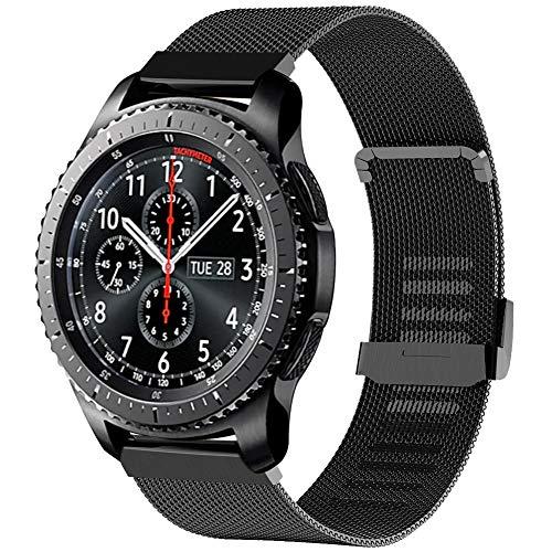 Tosenpo Cinturino per Samsung Gear S3 Frontier/Gear S3 Classic,22MM Cinturino Orologio in Metallo di Ricambio per Samsung Galaxy Watch 46mm/Gear S3 Frontier/S3 Classic (Nero)