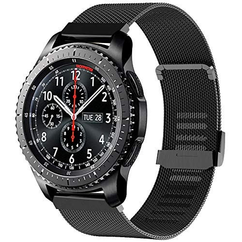 Tosenpo Armband Für Samsung Gear S3 Frontier/Gear S3 Classic,22mm Metall Ersatz Uhrenarmband für Samsung Galaxy Watch 46mm/Gear S3 Frontier/Gear S3 Classic/Huawei Watch GT (Schwarz)