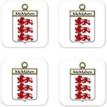 Mcmahon Or Mcmahan Family Crest Square Coasters Coat of Arms Coasters - Set of 4