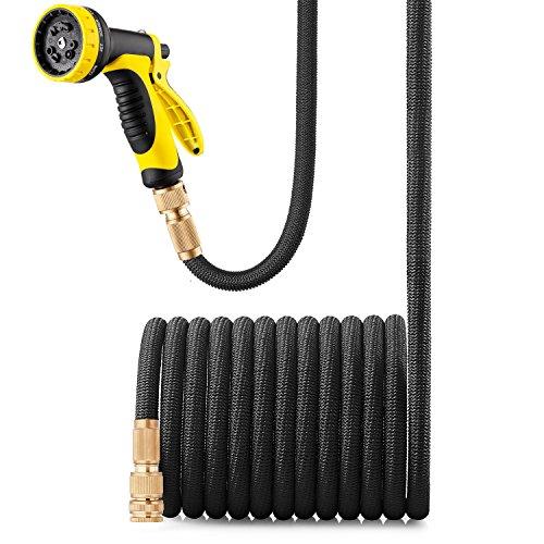 GroHoze Erweiterbarer Flexibler Gartenschlauch Solide Messing Verbinder Wasserschlauch mit 10 Funktion Spritzpistole - 50FT(15M) Schwarz