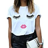 BLACKMYTH Women Summer Funny Print Short Sleeve Top Tee Graphic Cute T-Shirt White Medium