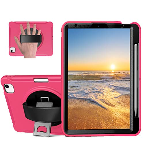 Sfulatdc Compatible with iPad 10.9 and iPad Pro 11 Case,Shockproof Full Body Cover with Hand Strap and Kickstand for iPad Air 4 2020 Pink