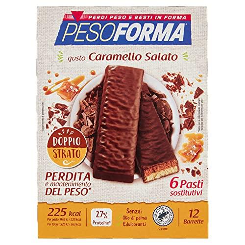 Pesoforma Barrette Caramello Salato, Pasti Sostitutivi Dimagranti, 12 x 31g