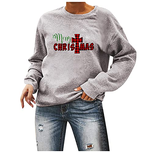 Christmas Shirts for Women Crewneck Sweatshirts Fall Long Sleeve Tops Merry Christmas Plaid Pullover Tunic Sweater Gray