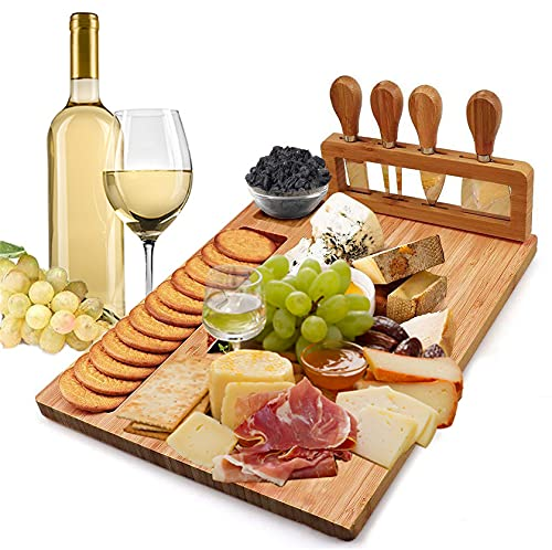 ROYAL HOUSE Unique Bamboo Cheese Board and Knife Set ? Serving Tray for Crackers, Meat, and Wine ? Wood Charcuterie Platter with Slide-Out Cutlery Drawer ? Perfect Wedding and Housewarming Gift