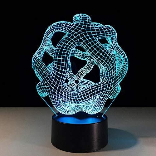 Luces de ilusión 3D, 7 colores cambiantes, lámpara de mesa abstracta, figura de moda, escultura 3D, luz nocturna LED, botón táctil, iluminación de dormitorio, decoración del hogar, regalo para niños
