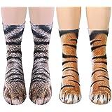 2 Pairs 3D Socks Unisex Adult Big Kids Animal Paw Crew Socks - Sublimated Print (Cat+Tiger)