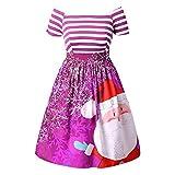 Homebaby Vestito di Natale delle Donna Eleganti A-Line Mini Vestito da Swing Babbo Natale Stampato a Strisce Vintage Abito da Ragazze Gonne A Vita Alta Tutu Principessa Regalo di Natale