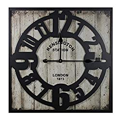 Essential Décor Entrada Collection MDF Metal Wall Clock, 23.6 by 23.6 by 2.1-Inch
