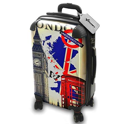 Viaje Londres 4, Voyage, Policarbonato ABS Spinner Trolley Luggage Maleta Rigida Equipaje con 4 Ruedas de 360° con Motivo Intercambiables. Color Plateado. Pequeño S Maleta Cabin.