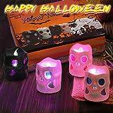 LUNSY Halloween deko Led Kerzen Skelett Kerzenlicht 12LED Flackern Tee Lichter für Weihnachten Halloween Party schrecklichAtmosphäre … - 8