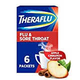 Theraflu Flu and Sore Throat Hot Liquid Powder, Apple Cinnamon Flavor, for relief from Nasal Congestion, runny nose and Headache - 6 Count Box