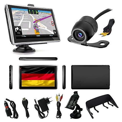 MediaTek Navigationsgerät LKW PKW Wohnmobile Navi 7 Zoll Sprachführung Touchsreen 8GB/256M mit Bluetooth Navigation 2019 Europa Maps Rückfahrkamera