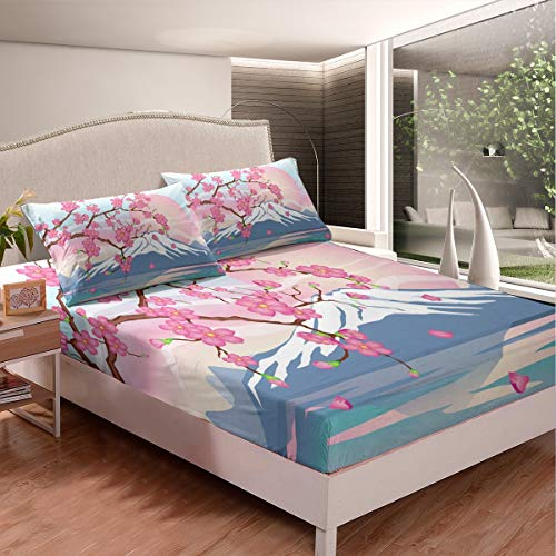 Cherry Blossoms Floral Bedding Set Japanese-Style Bed Sheet Set for Kids Girls Women Fuji Mountain Printed Fitted Sheet Exotic Japan Flowers Print Bed Cover Room Decor Full Size