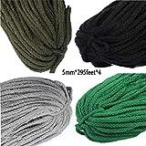 Yongyong Macrame Cuerda 5Mm X360m | Cuerda De Macrame 100% Algodón Natural | Cordón De Algodón Trenzado De 8 Hilos para Colgar En La Pared,Natural