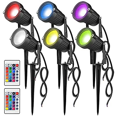 JNMF 6Pack RGB Color Changing Landscape Lights, 6W Outdoor LED Low Voltage Garden Landscape Spotlights 2 Remote Controls 16 Colors and 4 Changing Modes for Yard Party Decoration