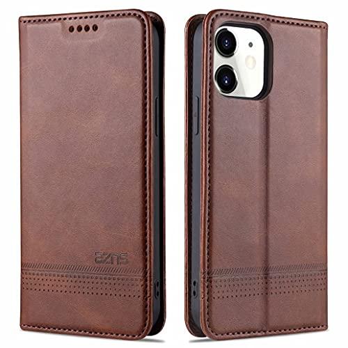 CRABOT Reemplazo para iPhone 11 Funda de Cuero PU Plegable Cartera Cierre Magnético Ranura para Tarjeta,Soporte Plegable Protectora Cover(Marrón)