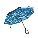 LINDATOP - Paraguas invertido con doble capa de apertura automática, resistente al viento, protección UV, para coche, lluvia, uso al aire libre