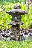 IDYL Lámpara de piedra natural de granito, resistente a las heladas, tamaño 70 cm, gris, hecha a mano, decoración japonesa para jardín, iluminación de caminos, para iluminación