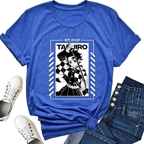 Anime Demon Slayer T Shirt Kimetsu No Yaiba Costume Short Sleeve Graphic Tshirt Unisex Hippie Clothes Blue Tanjiro Kamado Cosplay Merch Cute Clothing Women Girls Men Tees Tops