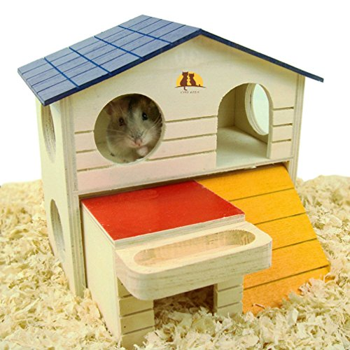 Emours - Casetta per piccoli animali come criceti, in legno, a due piani, con trucioli di legno naturale