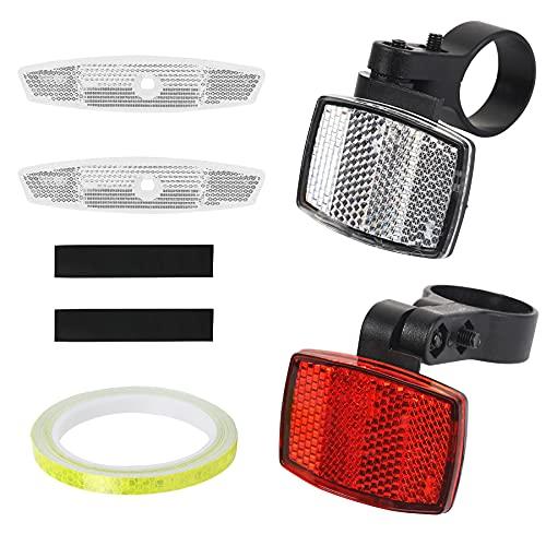 DKINY 5 Stück Fahrrad Reflektoren Set, 1 Frontreflektor 1 Rückstrahler 2 Speichenstrahler mit 8m Selbstklebend Reflektorband, Katzenaugen Strahler Fahrradreflektor für Fahrrad Rennrad Mountainbike MTB