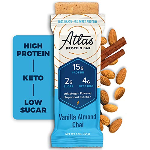 Atlas Bar - Keto Protein Bars, Vanilla Almond Chai - High Protein, Low Sugar, Low Carb, Grass Fed Whey, Healthy Protein, Gluten Free, Soy Free (10-Pack)