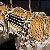 CHEIRS Escaleras Barcos Piscina Pontón 4 Pasos Plegable, Pontón Marino Telescópico Plegable Entrada Trasera Escaleras Interiores con Pedal Ancho y Pasamanos