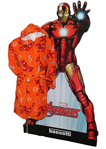 MARVEL by BASSETTI Bademantel Kinder 4/6Jahre mit Kapuze Iron Man Original Civil War Avengers