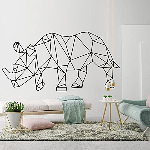Etiqueta engomada geométrica del arte de la pared del rinoceronte, calcomanía artística de animales geométricos contornos murales, decoración de la habitación de arte moderno A3 83x42cm