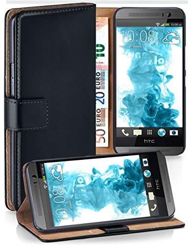moex Klapphülle kompatibel mit HTC One M8 / M8s Hülle klappbar, Handyhülle mit Kartenfach, 360 Grad Flip Case, Vegan Leder Handytasche, Schwarz