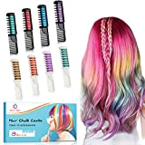 Haarkreide Kamm,Temporär Haarfarbe Kreide Kamm,8 Stück Instant Einmalige Haarekreide...