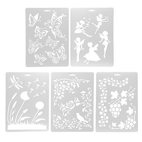 5 Stück Schablonen Set, Baoblaze Zeichenschablonen Zeichen Schablonen Grafiken für Journal Fotoalbum Scrapbooking verzieren, DIY Geschenkkarten