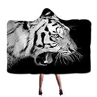 フード付き毛布プリント3D野生動物パターンクローク超ソフト毛深い毛布家族の男の子と女の子のためのスーパーソフト毛深い毛布,White tiger 01,200×150cm