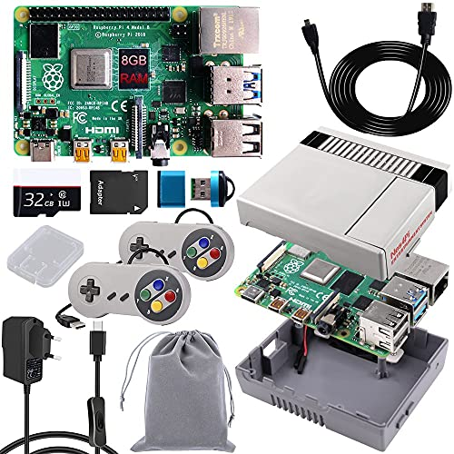 MakerFun Raspberry Pi 4 Model B 8GB starter kit mit USB SNES Controller Gamepads Joystick 32GB Micro SD-Karte,Raspberry Pi 4 Retro Gaming Gehäuse Kit mit NES Gehäuse,5V 3A USB-C EIN/Aus-Schaltnetzteil