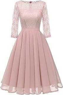 TWIFER Damen TWIFER Vintage Prinzessin Blumenspitze Cocktail Hochzeitskleid O-Neck Party A-Linie Swing Kleid