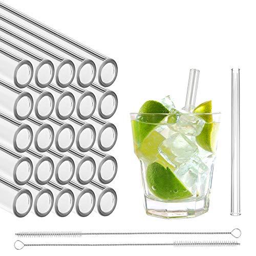 Pajitas de vidrio STRAWGRACE®, hechas a mano, rectas - probadas de forma independiente en DE - 25 piezas 13 cm, 2 cepillos - pajitas de vidrio hechas de cristalería de laboratorio altamente estable