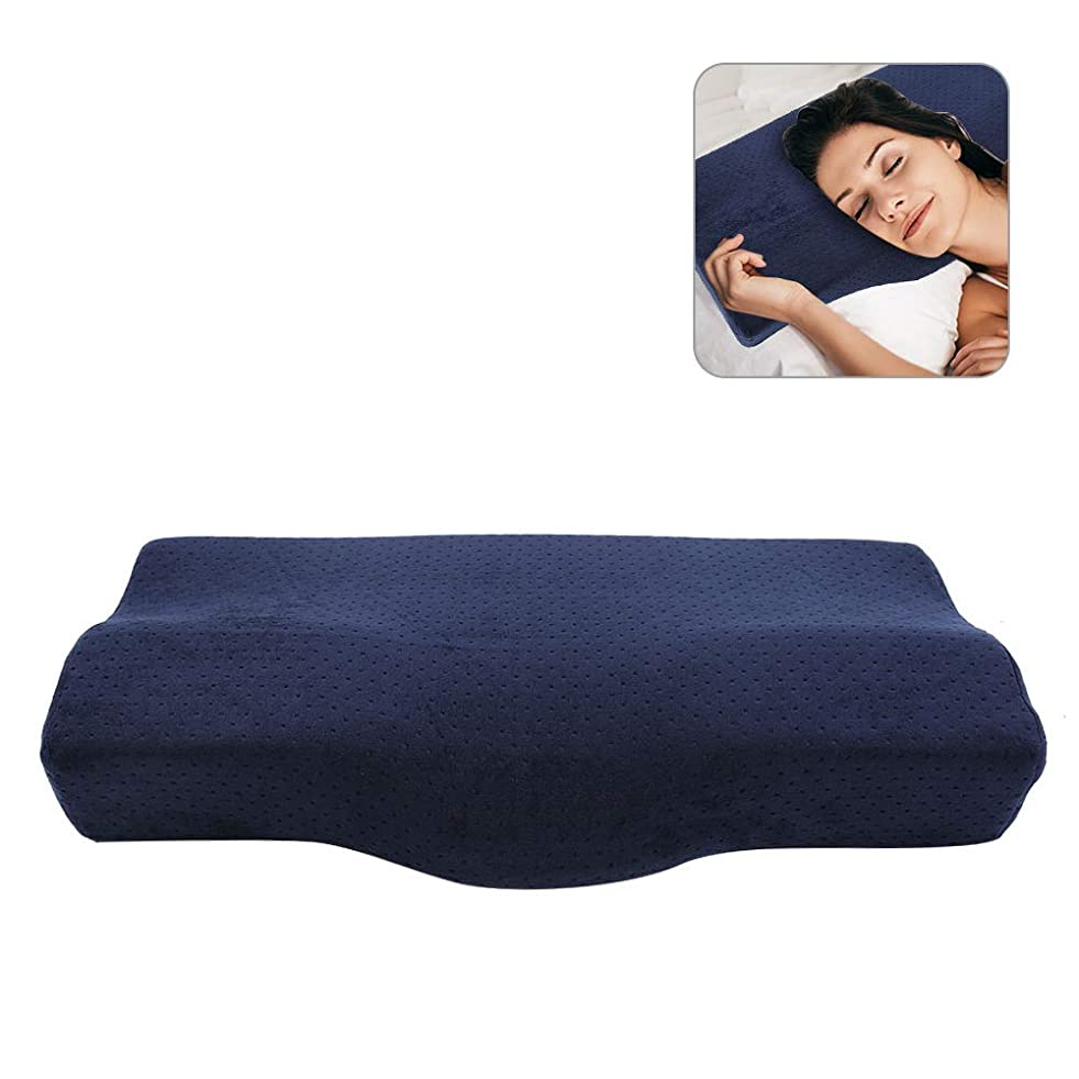 本土ピアノ生む枕 安眠 低反発枕 肩こり対策 頸椎サポート 肩こり対策 首?頭?肩 子供 大人向き 美容院&グラフトまつげ (ダークブルー)