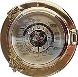 linoows Lujo Reloj Mundial, Ojo de Buey Reloj con Weltanzeige de Latón Ø 22Cm.