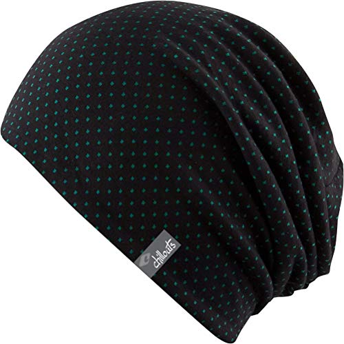 Feinzwirn Florence - leichte Beanie Mütze für Damen bzw. unisex, schwarz-gepunktet, Einheitsgröße